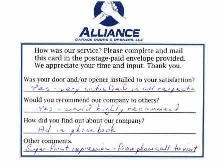 Customer Responses Of Alliance Garage Doors Amp Openers